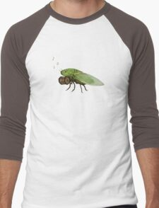 Cicada Playing a Squeezebox Men's Baseball ¾ T-Shirt