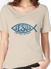 Jesus Loves Sushi - Blue on Gold Women's Relaxed Fit T-Shirt