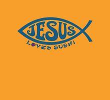 Jesus Loves Sushi - Blue on Gold Unisex T-Shirt