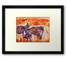 Family is survival, watercolor Framed Print