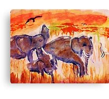 Family is survival, watercolor Canvas Print