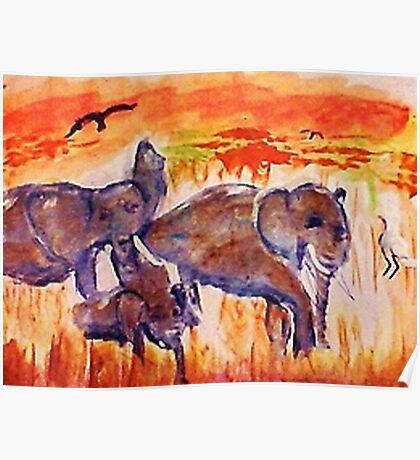 Family is survival, watercolor Poster