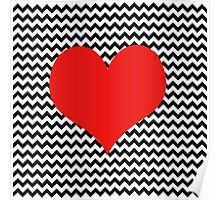 Black and white chevron with Red heart Poster