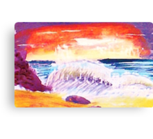 Sunsetting over crashing waves Canvas Print