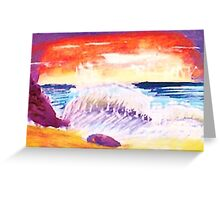 Sunsetting over crashing waves Greeting Card