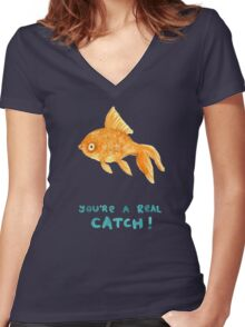 You're A Real Catch! Women's Fitted V-Neck T-Shirt