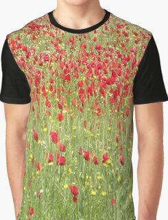 Meadow With Beautiful Bright Red Poppy Flowers Graphic T-Shirt