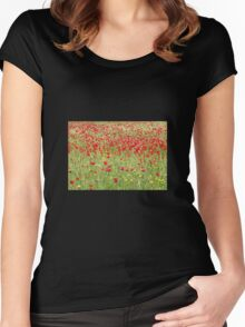 Meadow With Beautiful Bright Red Poppy Flowers Women's Fitted Scoop T-Shirt