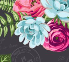 Romantic Floral in pinks and blues Sticker