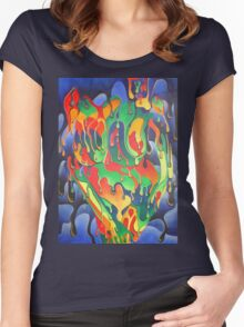 Buxom Nude Woman Splashed With Paint Women's Fitted Scoop T-Shirt