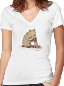 Grizzly Hugs Women's Fitted V-Neck T-Shirt