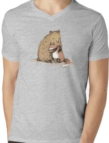 Grizzly Hugs Mens V-Neck T-Shirt