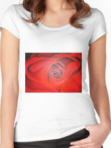 Valentine Red Rose Heart shaped Women's Fitted Scoop T-Shirt