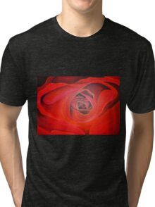 Valentine Red Rose Heart shaped Tri-blend T-Shirt