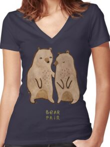 Bear Pair Women's Fitted V-Neck T-Shirt