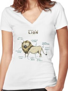 Anatomy of a Lion Women's Fitted V-Neck T-Shirt