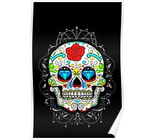 Classic Sugar Skull surrounded by lace Poster