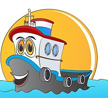 Tug Boat Cartoon by Graphxpro