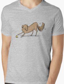 Playful Dog Mens V-Neck T-Shirt