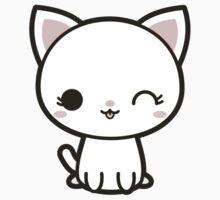 Kawaii white cat Kids Tee