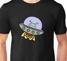 Cute alien in ufo in space Unisex T-Shirt