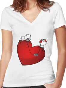 Heart Sound Women's Fitted V-Neck T-Shirt