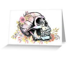Watercolor Skull wth flowers Greeting Card