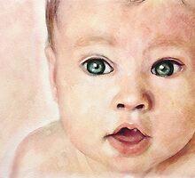 Watercolour Baby portrait painting by Przemysław Bródka