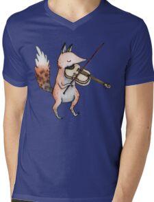 Violin Fox Mens V-Neck T-Shirt
