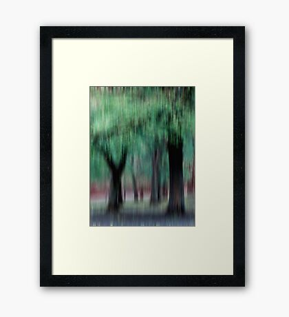 Group of Trees in Motion - green Framed Print