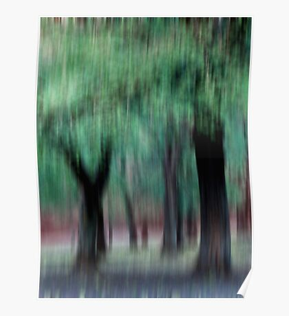 Group of Trees in Motion - green Poster