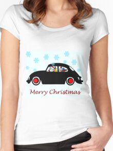 Santa Beetle Women's Fitted Scoop T-Shirt