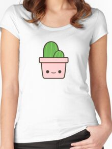 Cactus in cute pot Women's Fitted Scoop T-Shirt