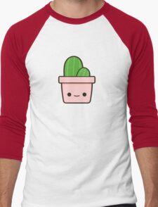 Cactus in cute pot Men's Baseball ¾ T-Shirt