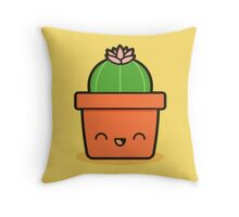 Cactus with flower in cute pot Throw Pillow