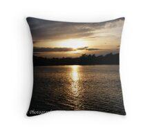 sunset over Kingsmill Reservoir Nottinghamshire Throw Pillow
