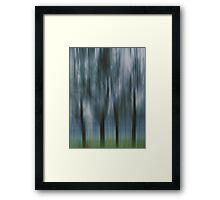 Four Trees, Budapest (blue & green) Framed Print