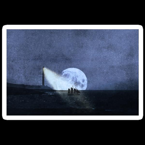 Across The Sea A Pale Moon Rises by Denise Abé