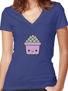 Succulent in cute pot Women's Fitted V-Neck T-Shirt