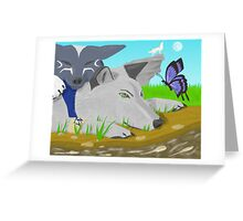 Wolves In friendly contentment Greeting Card