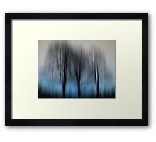 Three Trees in Motion - blue Framed Print