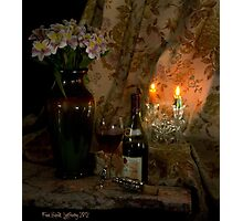 Rhone Wine and 2 Candles Photographic Print