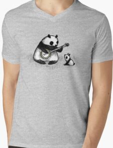 Banjo Panda Mens V-Neck T-Shirt
