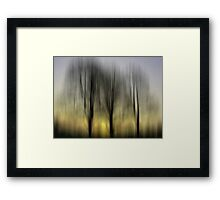Three Trees in Motion - yellow Framed Print