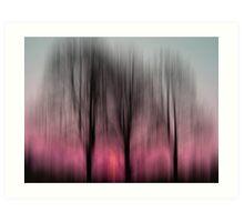 Three Trees in Motion - pink Art Print