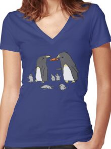 Penguin Family Women's Fitted V-Neck T-Shirt
