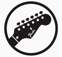 fender stylized headstock black Kids Clothes