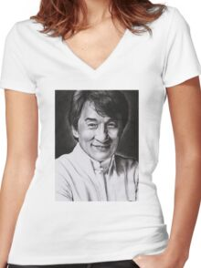 Jackie Chan Women's Fitted V-Neck T-Shirt