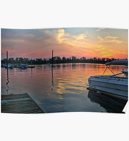 Sunset at RC's Marina Clark, PA Poster