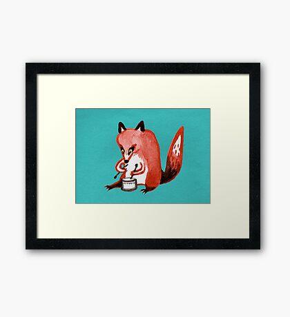 Drumming Fox Framed Print